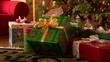 Detaily fotografie Zdobené vánoční stromeček s dárky zabalené pod