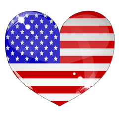 Heart with US flag texture isolated