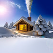 A small wooden house in a fantastic snow forest on the eve of Ne