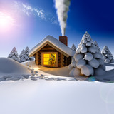 Fototapety A small wooden house in a fantastic snow forest on the eve of Ne