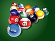 Glossy billiard balls on the table, vector illustration
