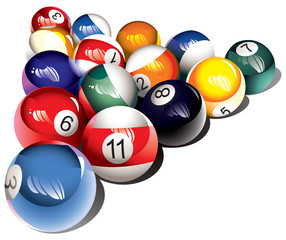 Glossy billiard balls set, vector illustration