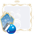 Blue ball and snowflakes in the decorative frame. Vector