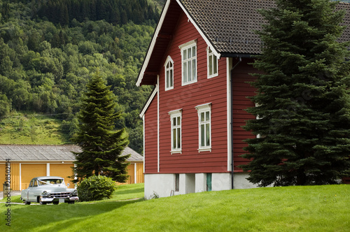 Country house with feertrees and retro car on the yard