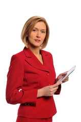 Businesswoman holding an e-book