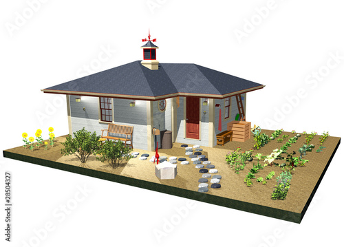 Fattoria con Orto-Farm with Garden-3D