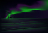 Visible aurora over snow-bound tundra