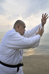 A aikido man are training in Aikido on the beach