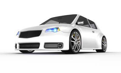 White sports car isolated on white 3D render.