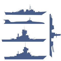 illustration with four ship silhouette collection