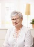 Portrait of pensioner woman poster