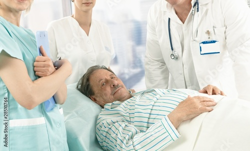 Elderly male patient in hospital