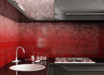 Moderne Küche 3d render