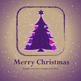 Christmas tree with purple star vector card