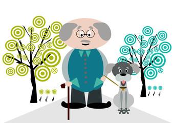 anziano con cane