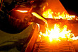 Leinwanddruck Bild - metal casting process in high temperature