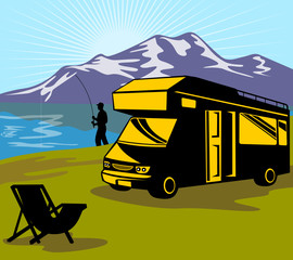 fisherman fishing camper van and chair lake mountain