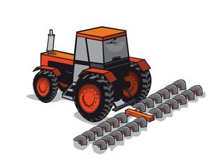 Tracteur qui passe avec la herse