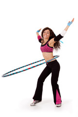 Fitness teacher demonstrating hooping