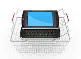 Black mobile smart phone with shopping basket - 3d render
