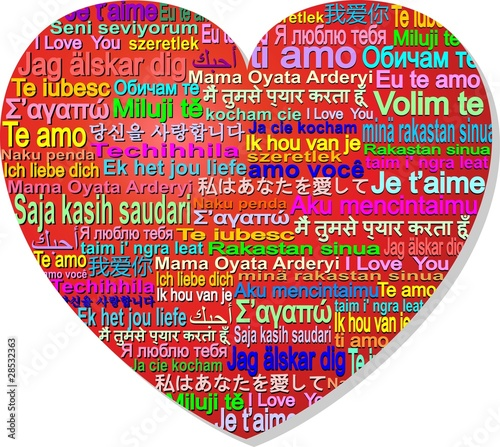 Cuore Amore Internazionale-Love World Languages-Vector