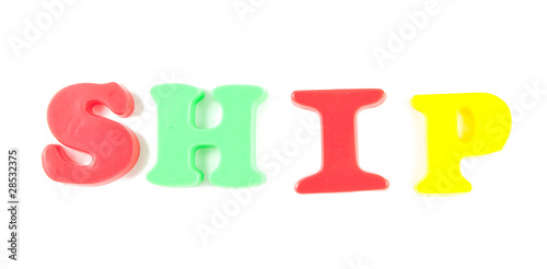 ship written in fridge magnets isolated on white