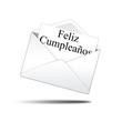 Icono sobre blanco con carta con texto Feliz Cumpleaños