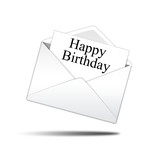 Icono sobre blanco con carta con texto Happy Birthday