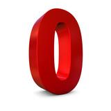 Chiffre 0 3d rouge