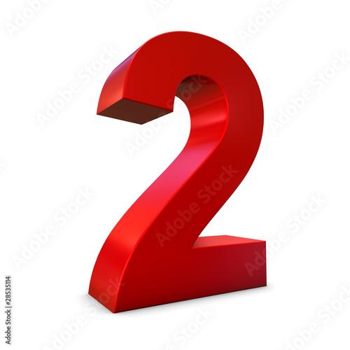 Chiffre 2 3d rouge