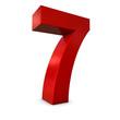 Chiffre 7 3d rouge