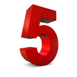 Chiffre 5 3d rouge