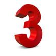 Chiffre 3 3d rouge