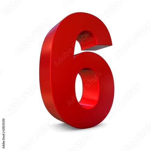 Chiffre 6 3d rouge