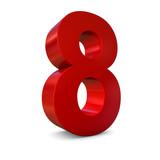 Chiffre 8 3d rouge