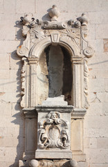 Antique bas-relief architectural detail on the wall, Sibenik, Cr