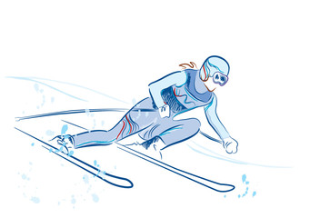 hand drawn  sketch of the skier