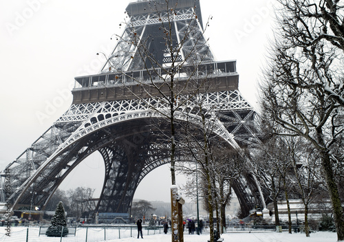 France Paris trocadero under snow