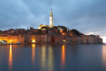 Rovinj. Cathedral of St. Euphemia in the old town at night