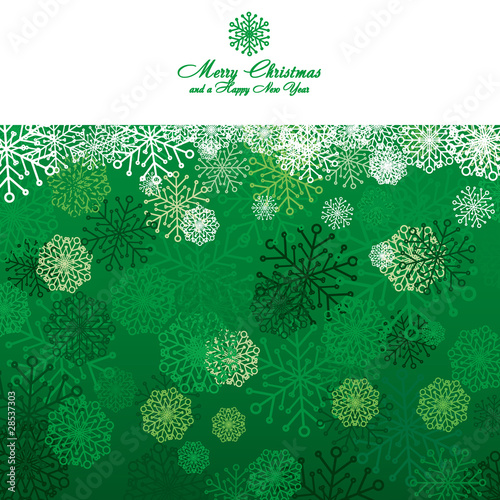 Green Christmas card with snowflakes, vector illustration
