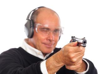 Man Pointing a Gun on White Background.