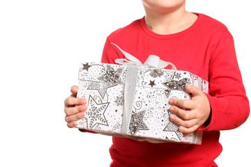 bambino con pacco regalo natale
