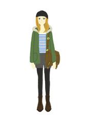 コートを着たニット帽子の女の子