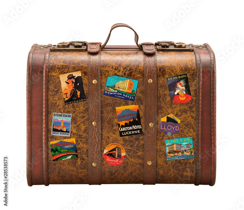 Old Suitcase Travel Stickers isolated  with a clipping path - 28538573