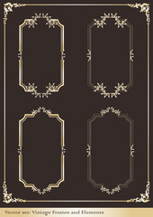 Vintage gold wedding frame set vector