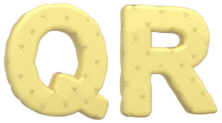Luxury soft leather font Q R letters