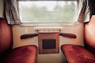 Inside of a nostalgic Train