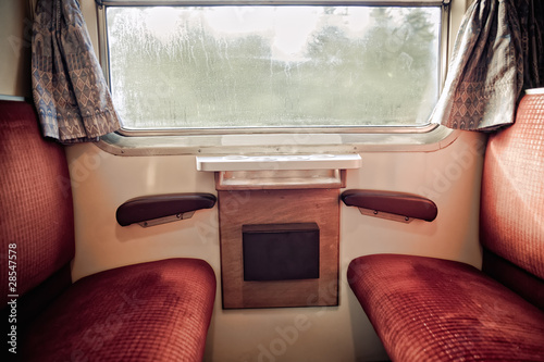 Inside of a nostalgic Train - 28547578