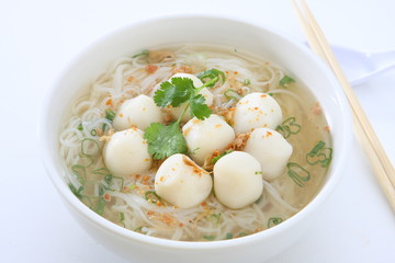 Rice Noodle Soup with Fish Balls
