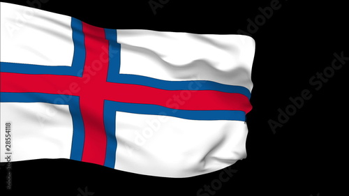 Faroe Islands flag slowly waving. Alpha included. Seamless loop.